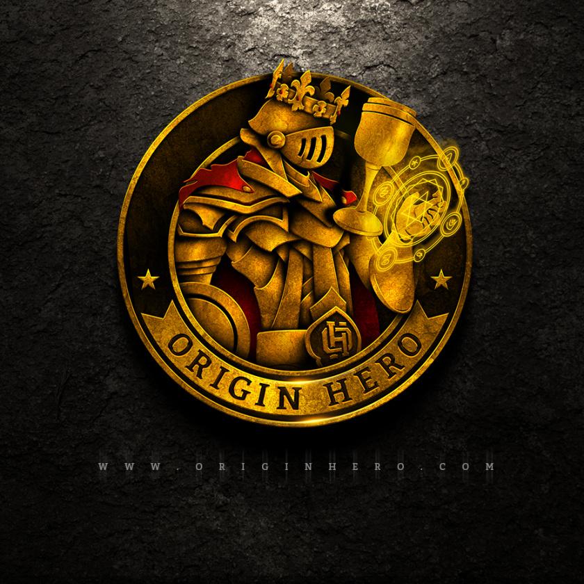 坚固和坚韧的重金属logo设计-起源英雄标志logo设计
