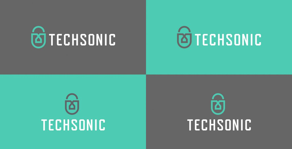 Techsonic 电子安全监控设备公司logo设计,盾牌+锁+房子