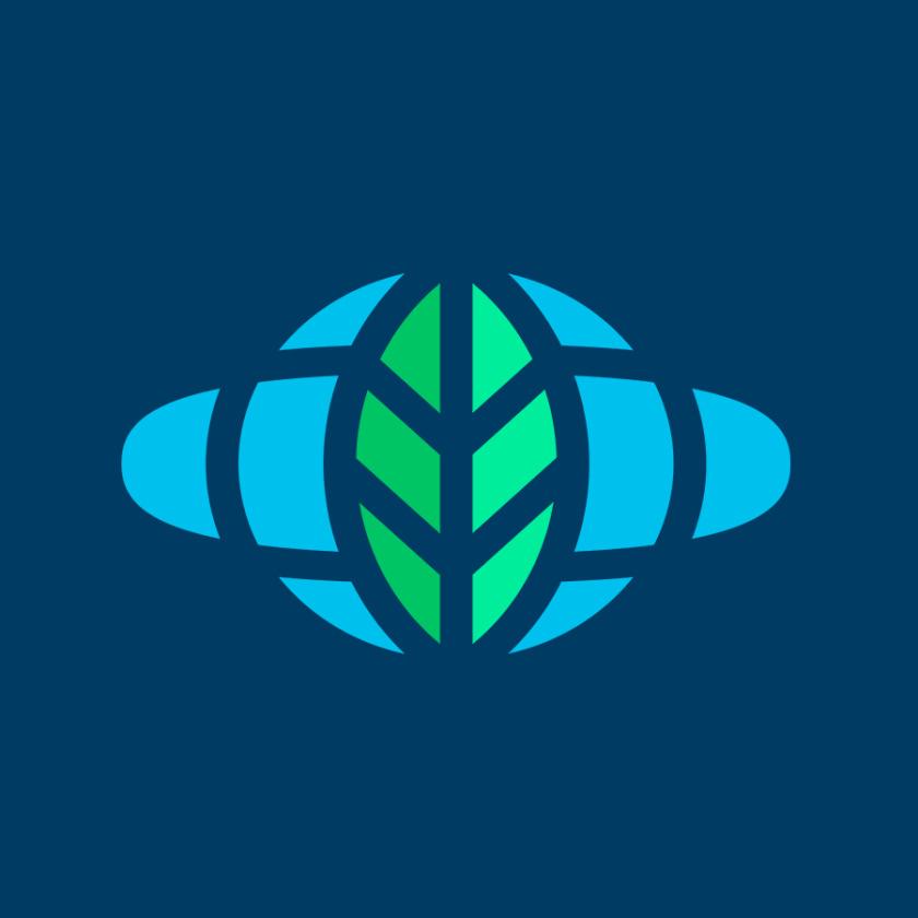 蓝绿色收集项目logo设计
