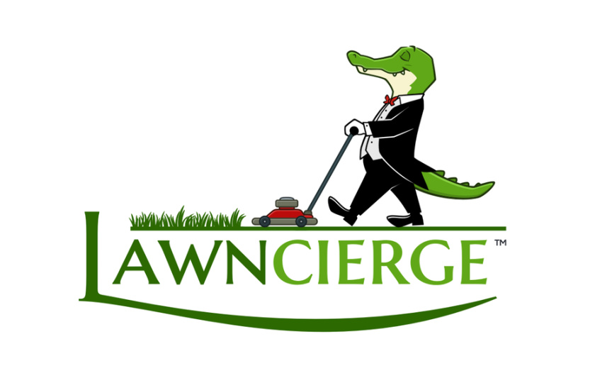 Lawncierge恐龙园丁徽标logo设计