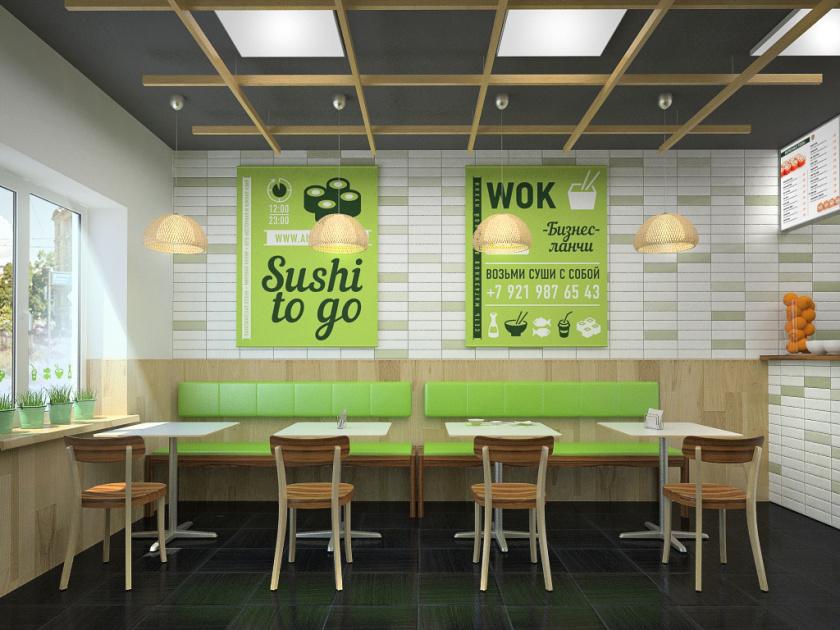 爱达寿司店餐饮fun88体育备用形象fun88乐天使备用-餐厅空间fun88乐天使备用,小而精的清新绿色风fun88乐天使备用