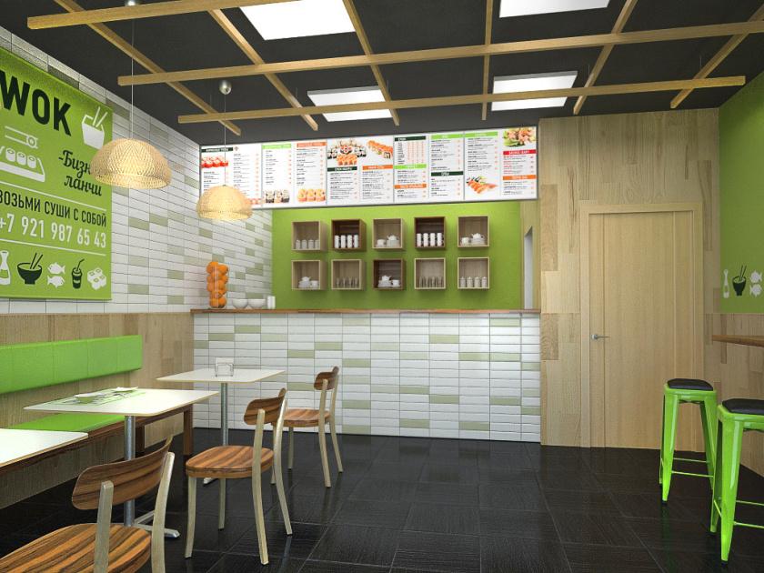 爱达寿司店餐饮fun88体育备用形象fun88乐天使备用-餐厅空间fun88乐天使备用,小而精的清新绿色风设