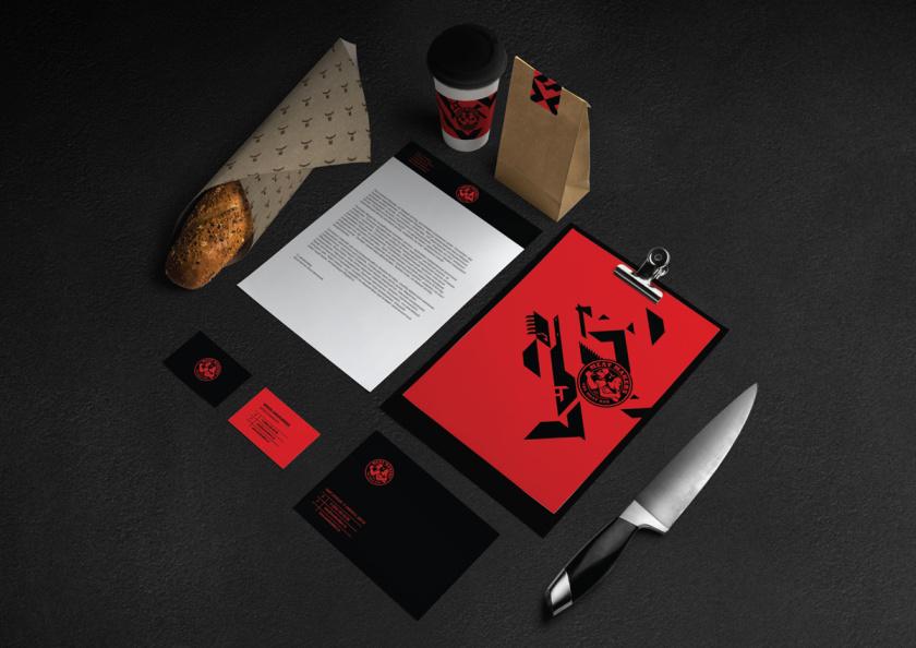 Meat Makers 肉食酒吧餐厅logo设计vi设计,两个背靠背硬汉+小刀几何元素