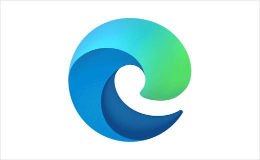Microsoft Edge 网络浏览器新logo设计,螺旋状波浪形符号
