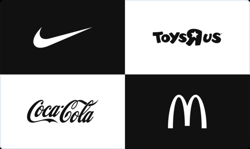 标志性徽标logo:耐克,Toys R Us,可口可乐,麦当劳