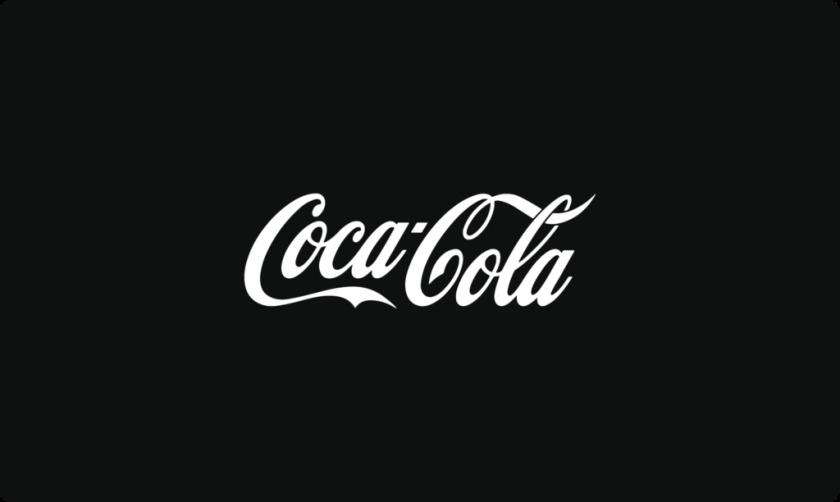 黑色和白色的标志性可口可乐logo