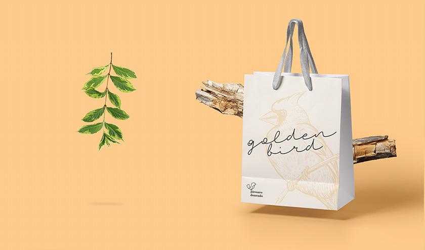 Pássaro金鸟饲料口粮包装设计,手绘小鸟的图案包装