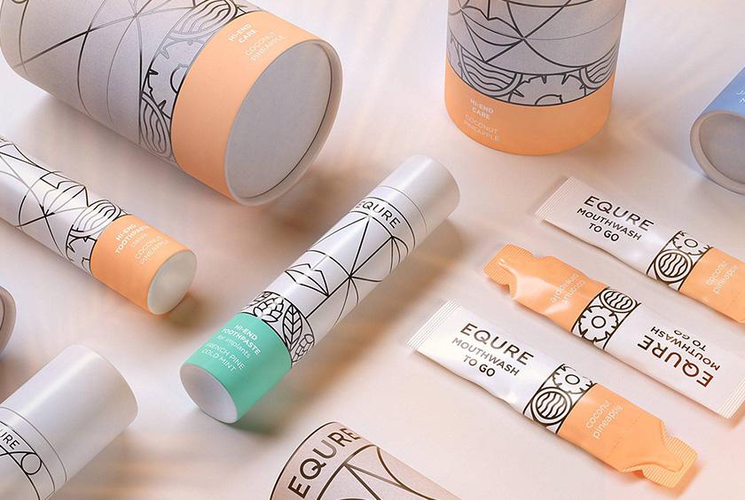 EQURE 牙膏与口腔牙齿护理产品fun88体育备用形象fun88体育手机与包装fun88乐天使备用,源于线条装饰艺术风格