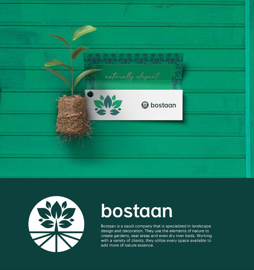 Bostaan 景观公司logofun88乐天使备用与vifun88乐天使备用,矢量化几何风格绿叶与根须