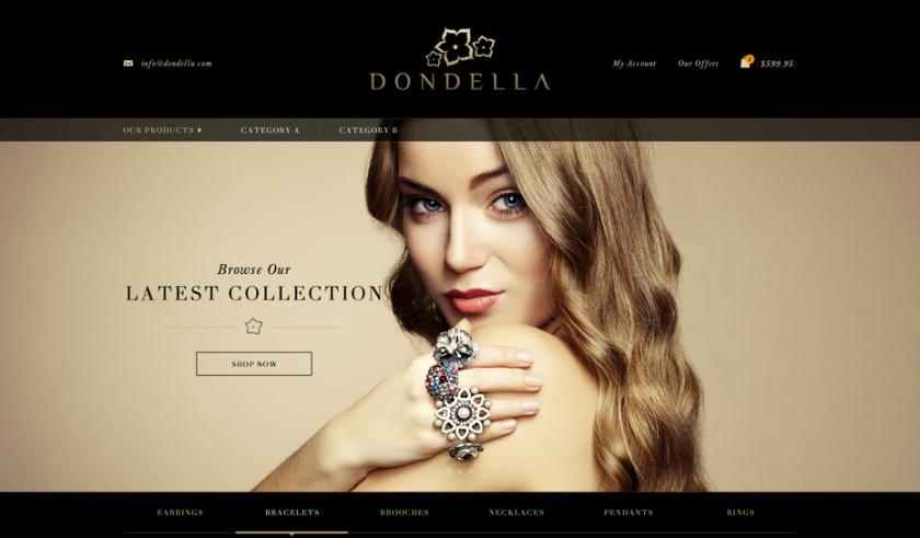 引人注目的衬线-Dondella珠宝首饰网页设计