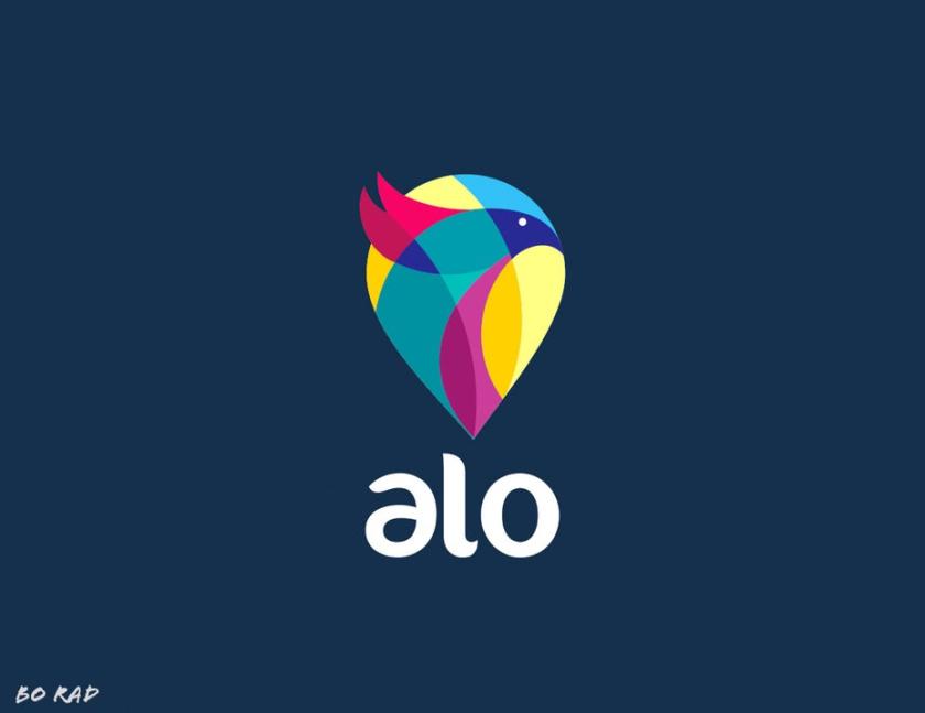 友好的几何图案-Alo标志设计