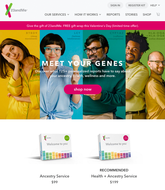 23andMe医疗保健网站