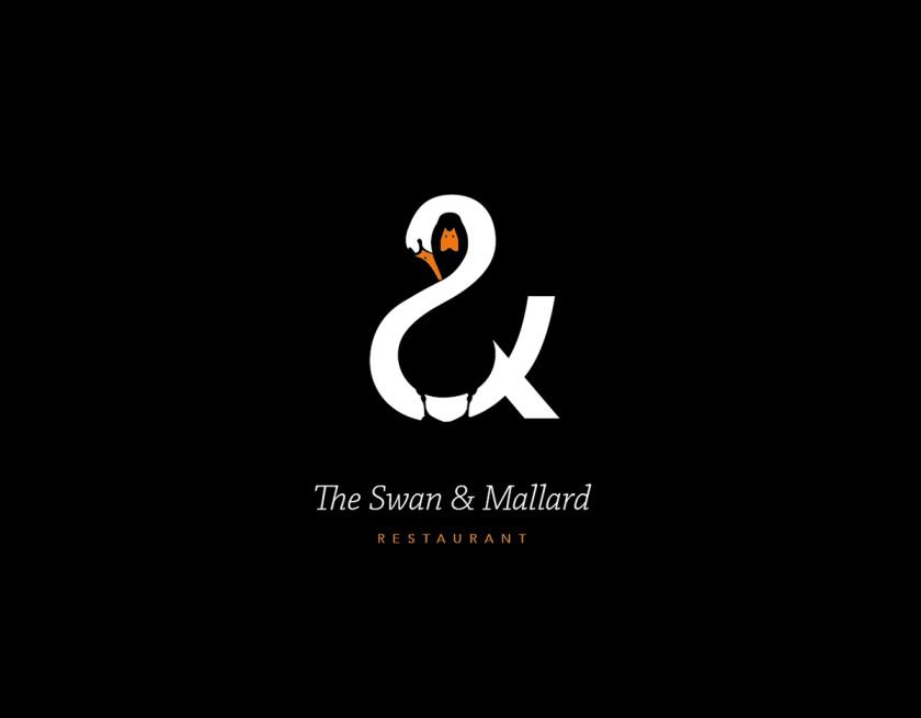 最佳logo设计示例-令人惊讶的负空间-天鹅&野鸭logo设计