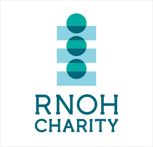 RNOH骨科慈善医院品牌形象设计,logo设计为人体脊柱或落入筹款罐的硬币