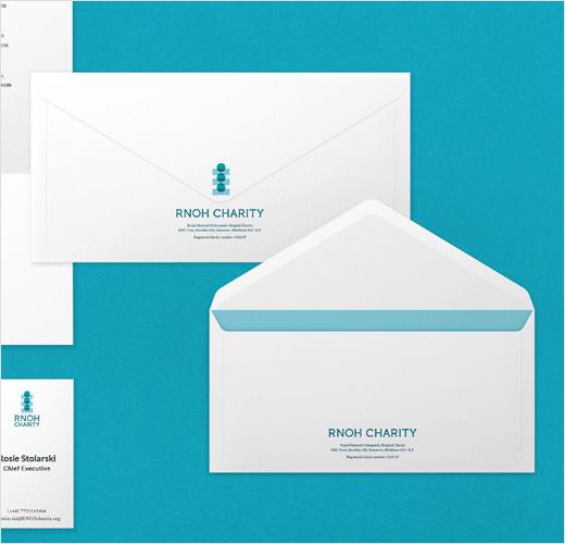 RNOH骨科慈善医院品牌vi形象设计,logo设计犹如人体脊柱或落入筹款罐的硬币