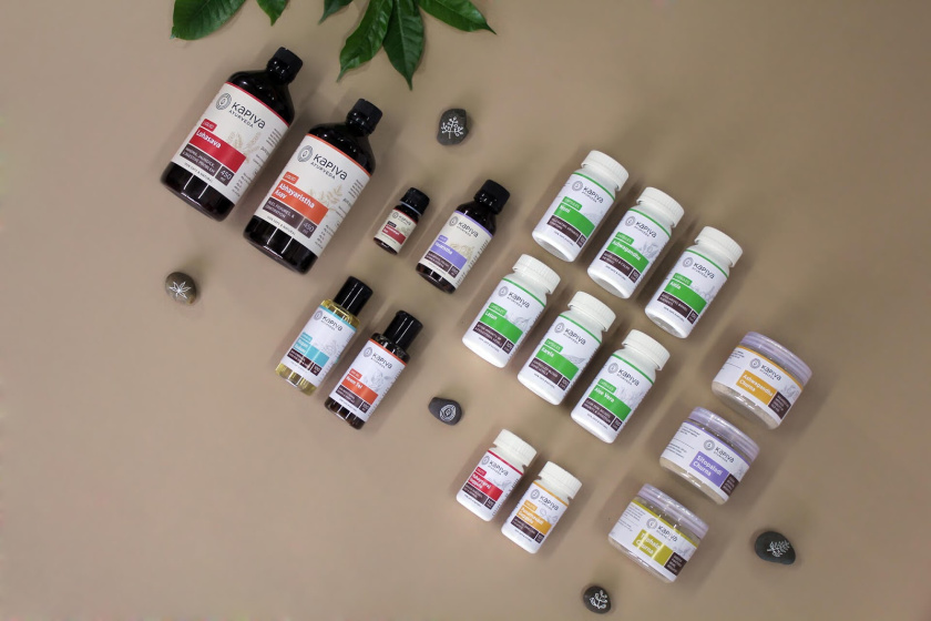 KapivaOTC非处方药品包装设计,严谨的色块加植物插图
