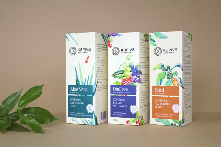 Kapiva水果系列营养补充剂包装设计包装设计,严谨的色块加植物插图