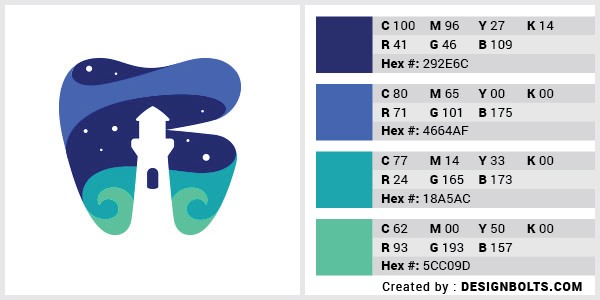 最佳4色组合标志设计-深蓝色和海蓝色组合