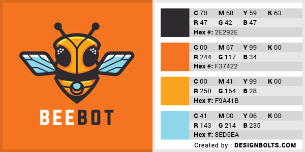 最佳4色组合标志设计-蜂蜜橙和蓝色组合