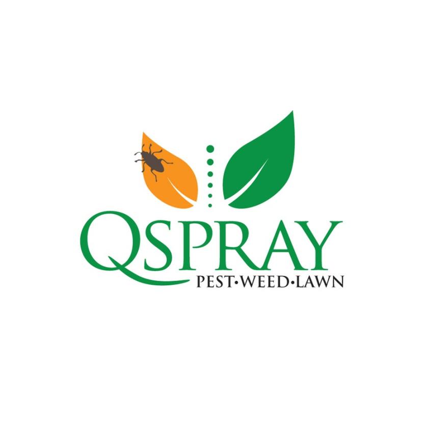 """两片叶子,一片橙色,上面有一个虫子,一片绿色,上面写着""""QSpray Pest Weed Lawn"""""""