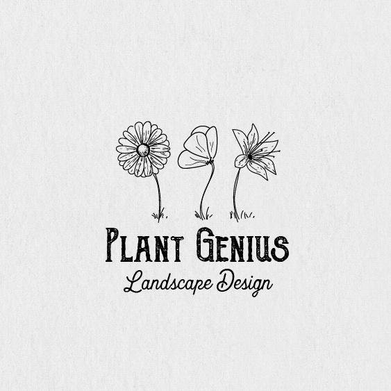 """logo设计由三个画线并排的花与文本""""植物天才"""""""