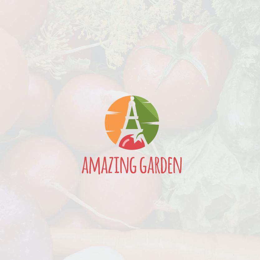 """程式化的字母A在番茄,胡萝卜和黄瓜之间的负空间与文本""""神奇花园""""logo设计"""