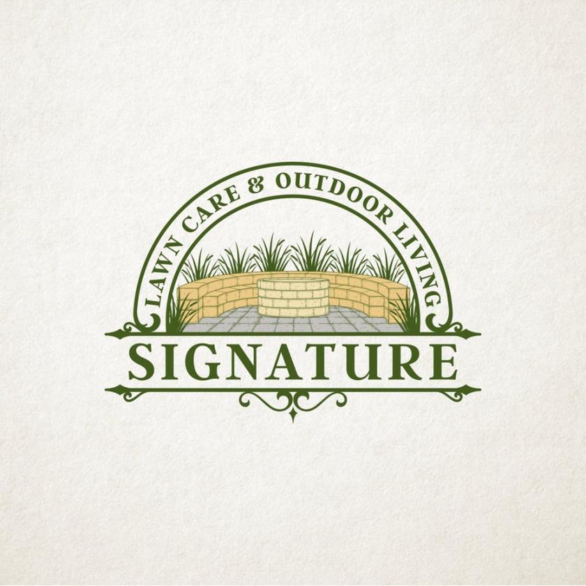 """一个火坑的插图由摊铺机与文本""""草坪护理和户外生活签名""""logo设计"""