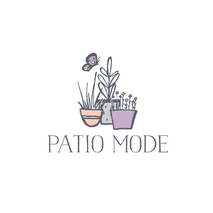 """三个盆栽植物彼此相邻,文字""""天井模式""""logo设计"""