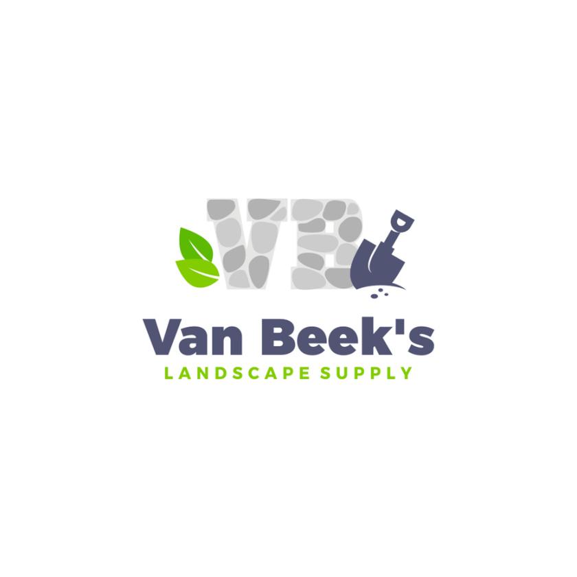 """首字母V和B由石头旁边的铲子和两片叶子组成,文字为""""Van Beek的园林绿化供应""""logo设计"""