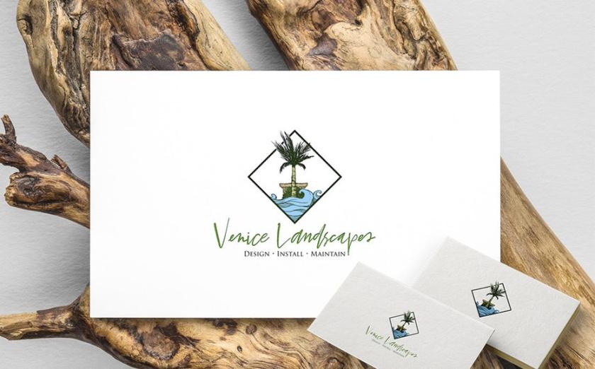 """钻石形logo设计显示棕榈树和水与文本""""威尼斯风景"""""""