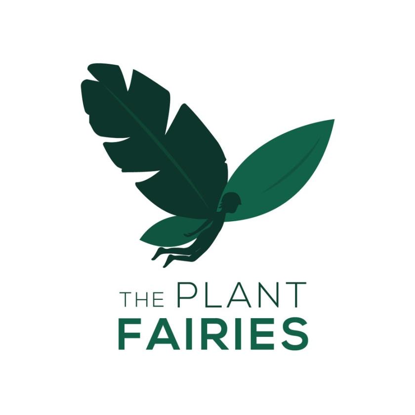 """一个仙女的轮廓为其中一个翅膀和文本""""植物仙女""""logo设计"""