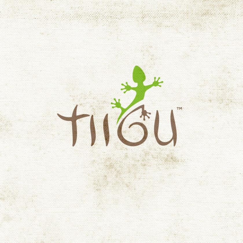 """极简主义的字标标志,上面写着""""TIIGU"""",蜥蜴爬上G"""