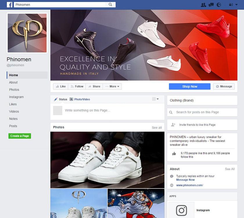 Facebook运动鞋公司的现代封面设计。