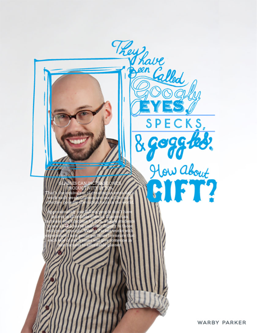 Warby Parker嘻哈手绘与拍摄混合广告