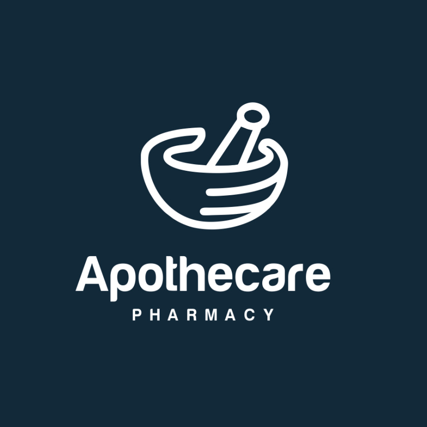 砂浆和杵药房logo设计-Apothecare药房标志