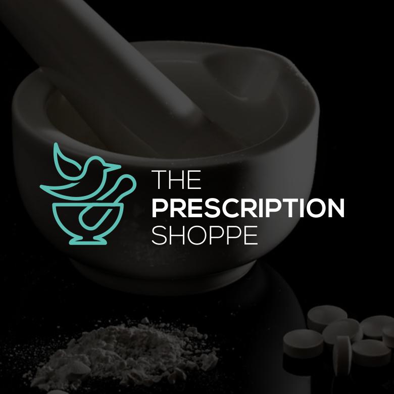 砂浆和杵药房logo设计-Prescription Shoppe标志