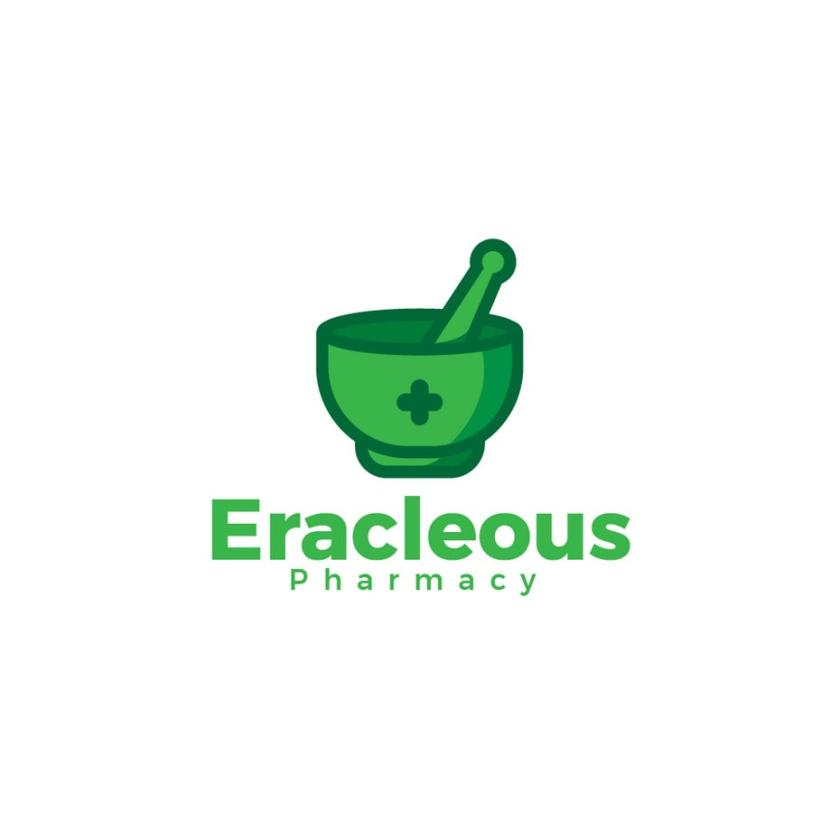 砂浆和杵药房logo设计-Eracleous Pharmacy标志