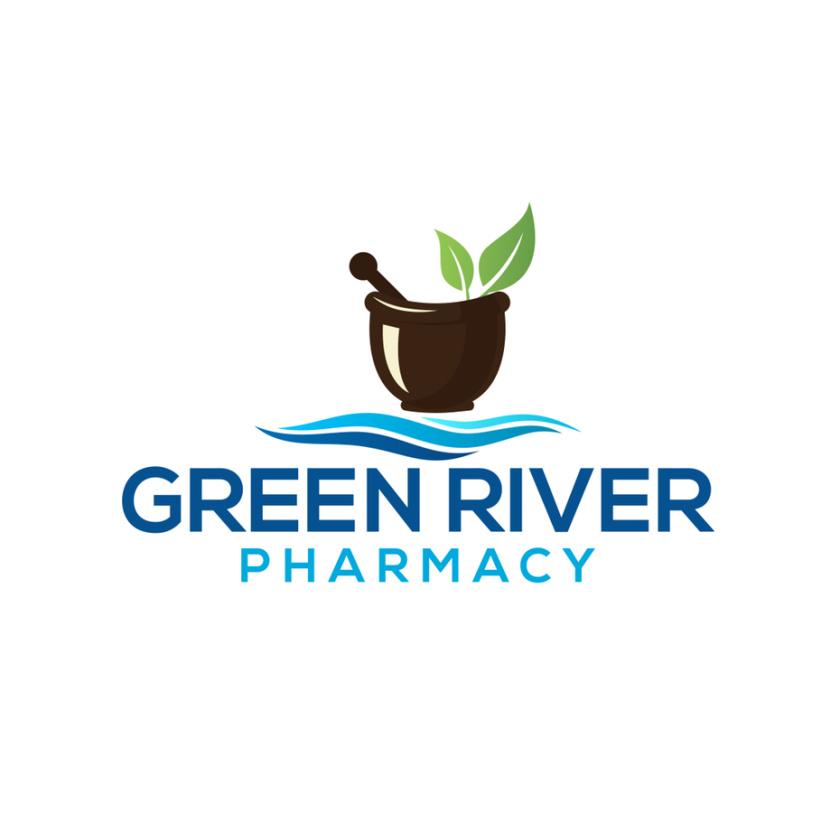 砂浆和杵药房logo设计-绿河药房标志