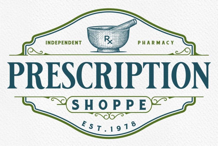 复古风格的药房标识logo设计-处方专柜徽标