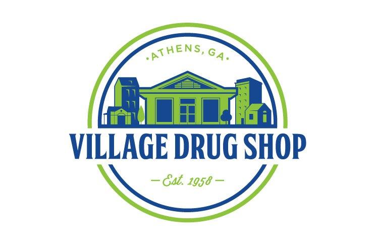 复古风格的药房标识logo设计-Village Drug Shop标志