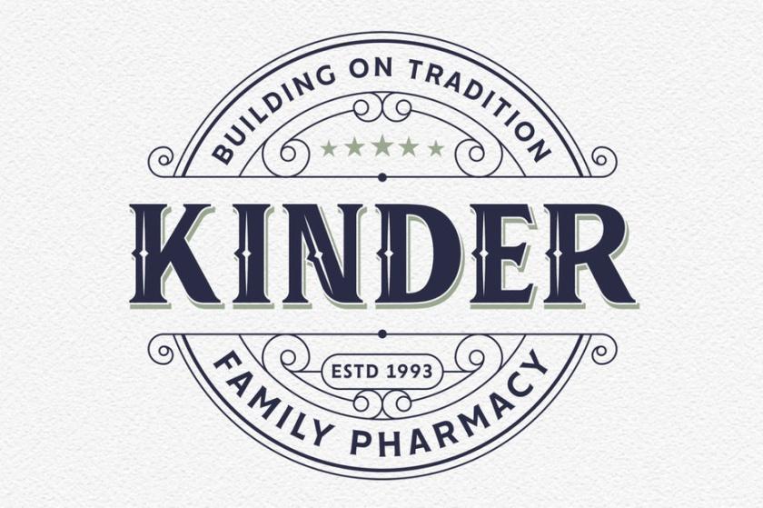 复古风格的药房标识logo设计-金德家庭药房标志
