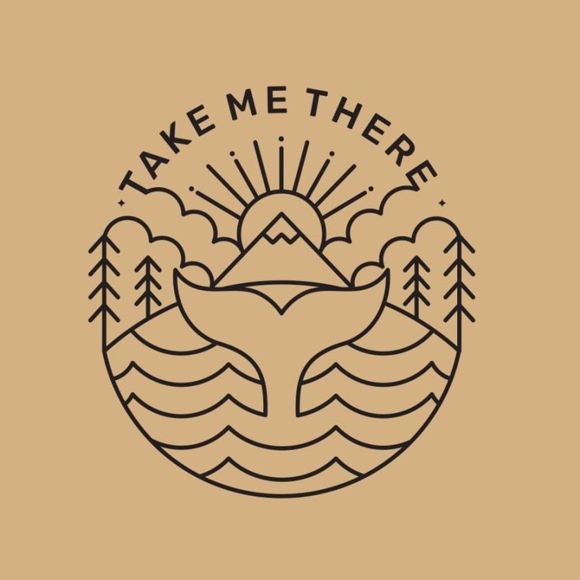 线条艺术旅行旅游logo设计与树木,太阳和鱼尾巴