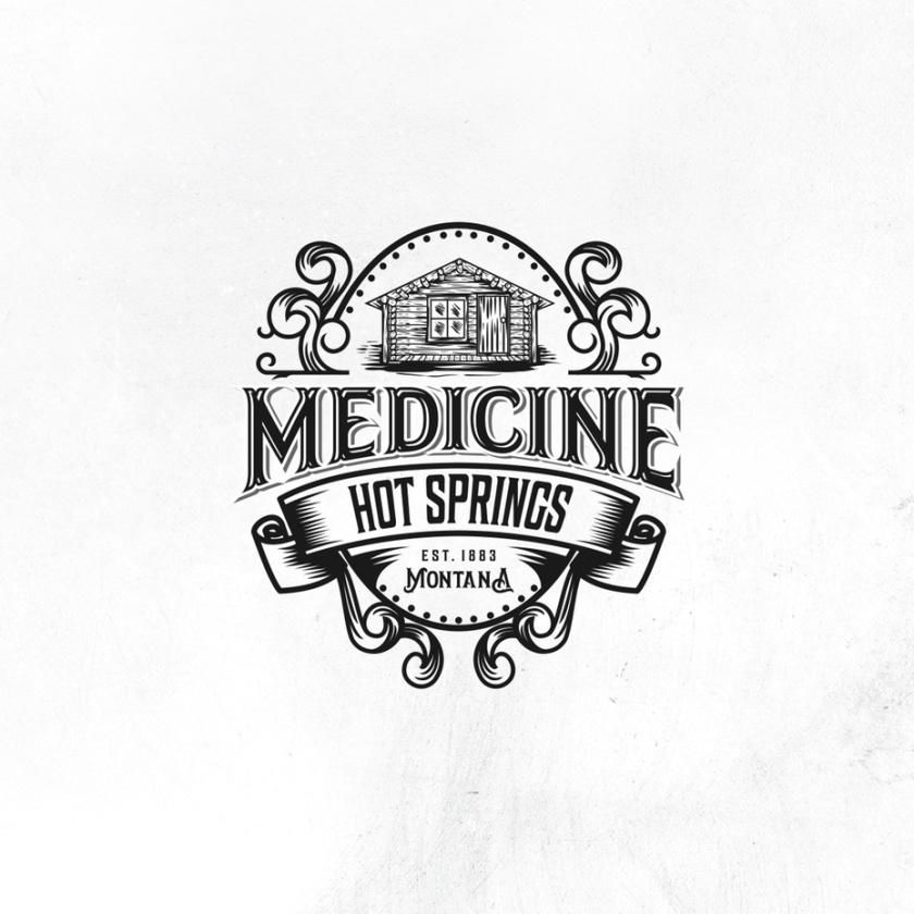 老式的活版设计的小屋的旅游logo设计