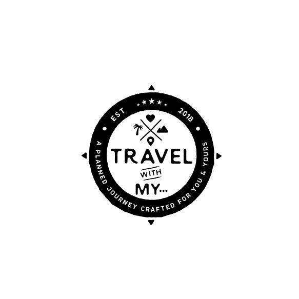 """文字""""与我同行......""""旅游logo设计"""