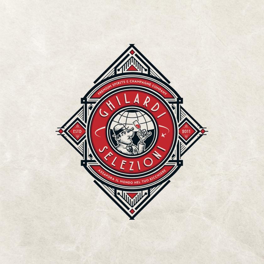 复杂的几何红色和黑色菱形徽标的旅游logo设计