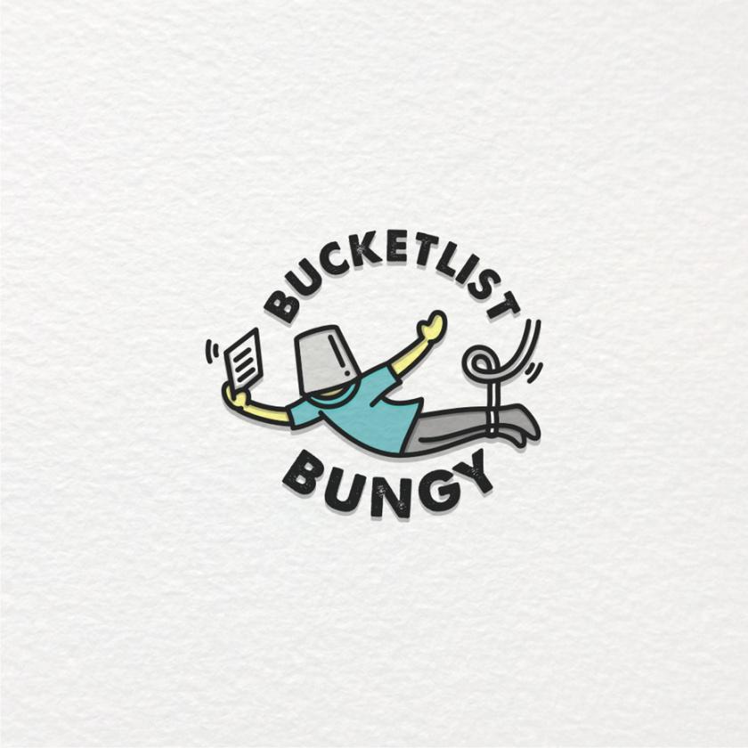 绘制一个人用蹦极锤悬挂在他们的头上的旅游logo设计