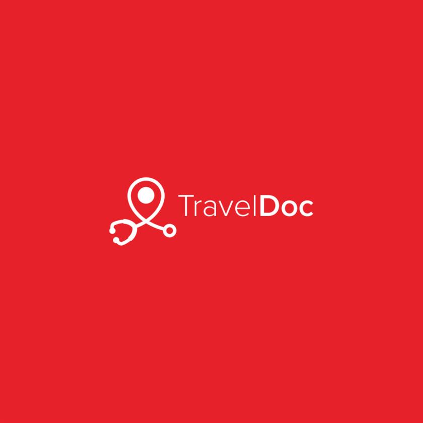 与白色消极空间听诊器的红色背景旅游logo设计