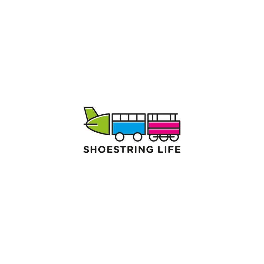 旅游logo设计,飞机的一部分,公共汽车的一部分和与线路相连的火车的一部分