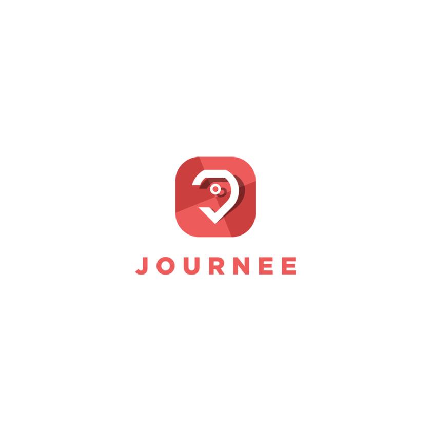 红色格子图案方形图标与颠倒的液滴形状旅游logo设计