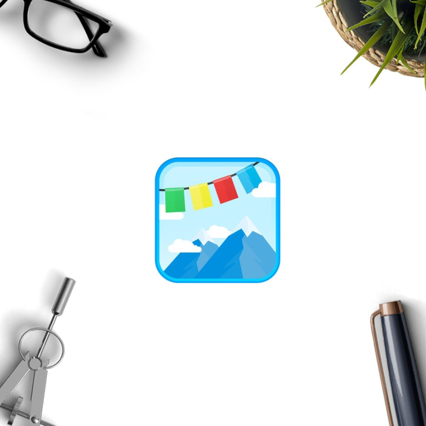 旅游logo设计图标显示山脉的图像与串过他们的经幡